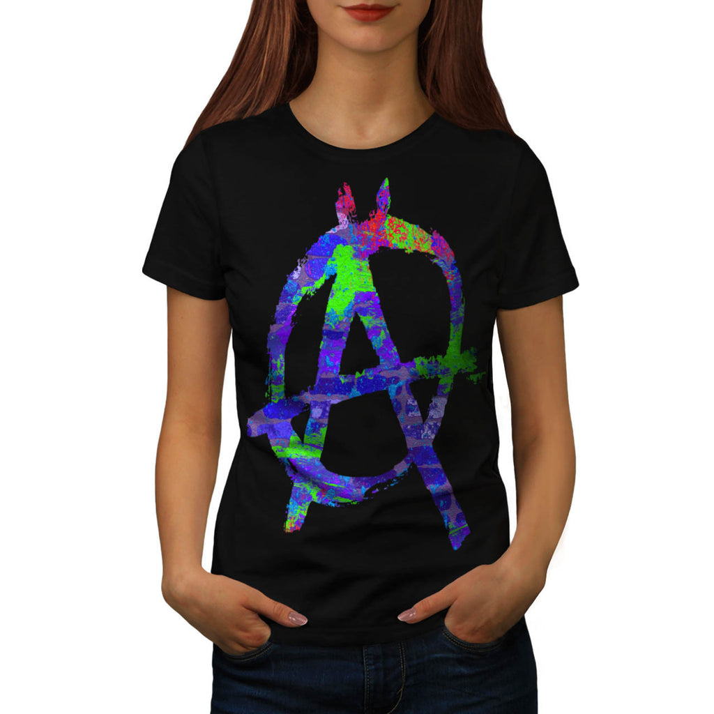 Anarchy Symbol Color Womens T-Shirt