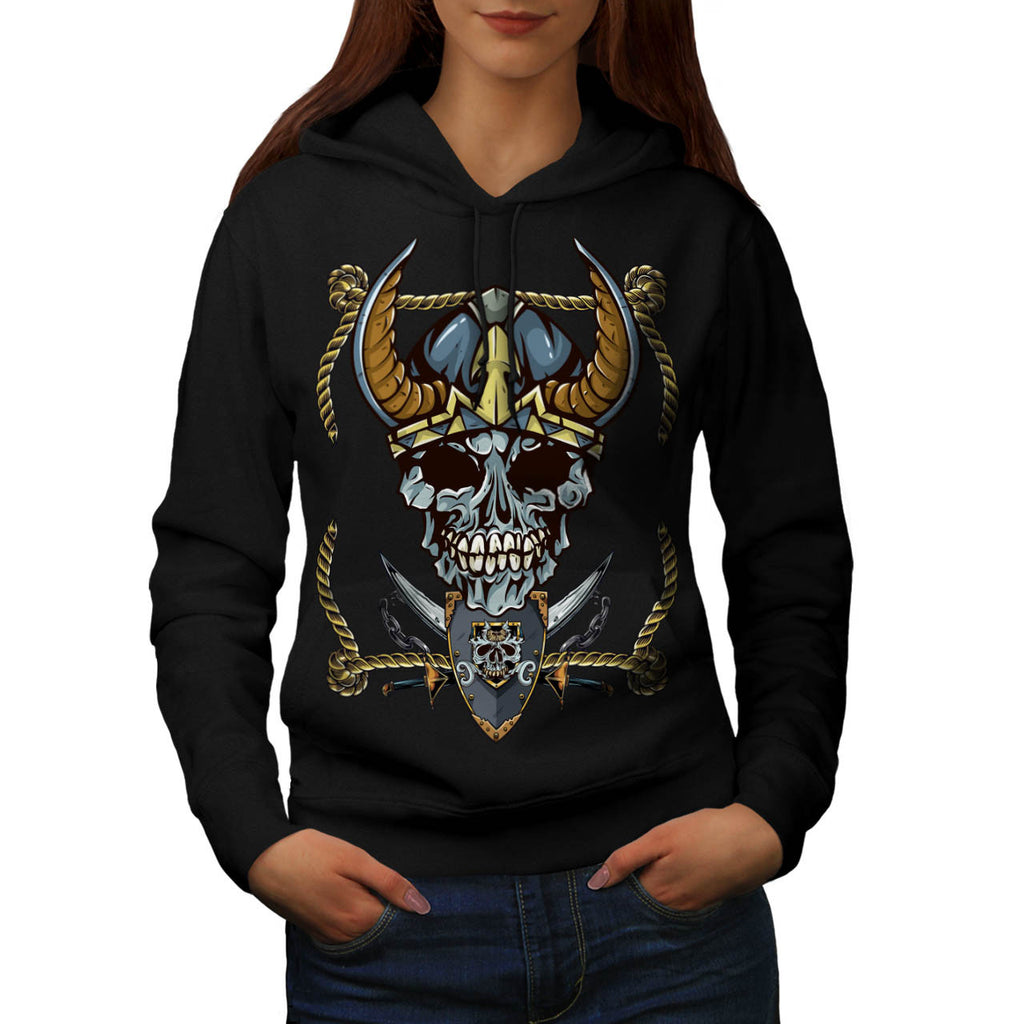 Skull War Head Body Womens Hoodie