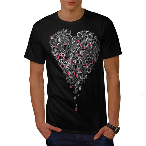 Flower Power Heart Mens T-Shirt