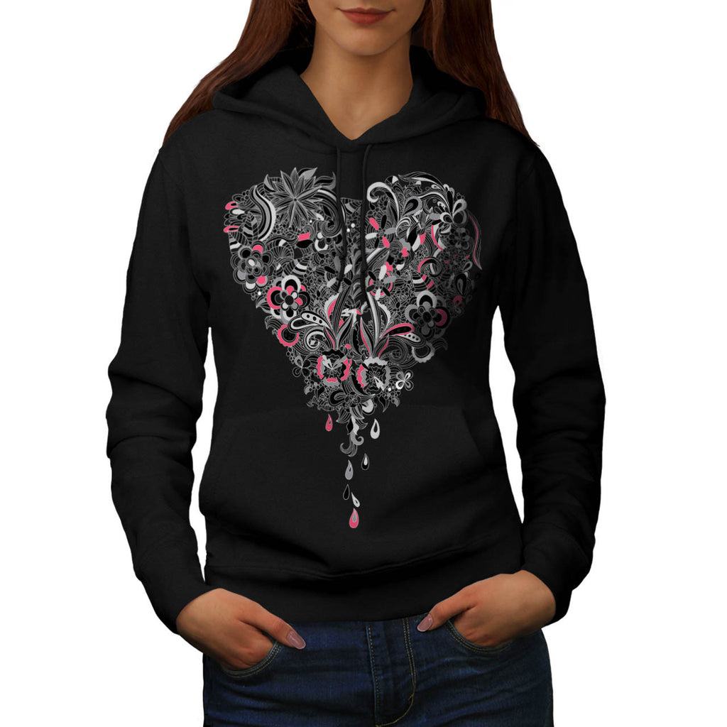 Flower Power Heart Womens Hoodie