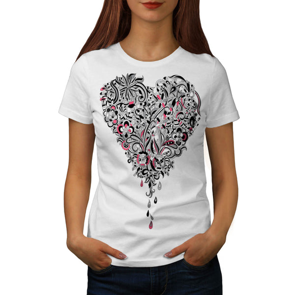 Flower Power Heart Womens T-Shirt