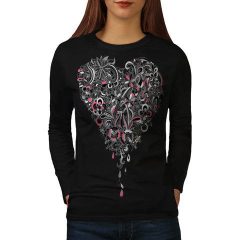 Flower Power Heart Womens Long Sleeve T-Shirt