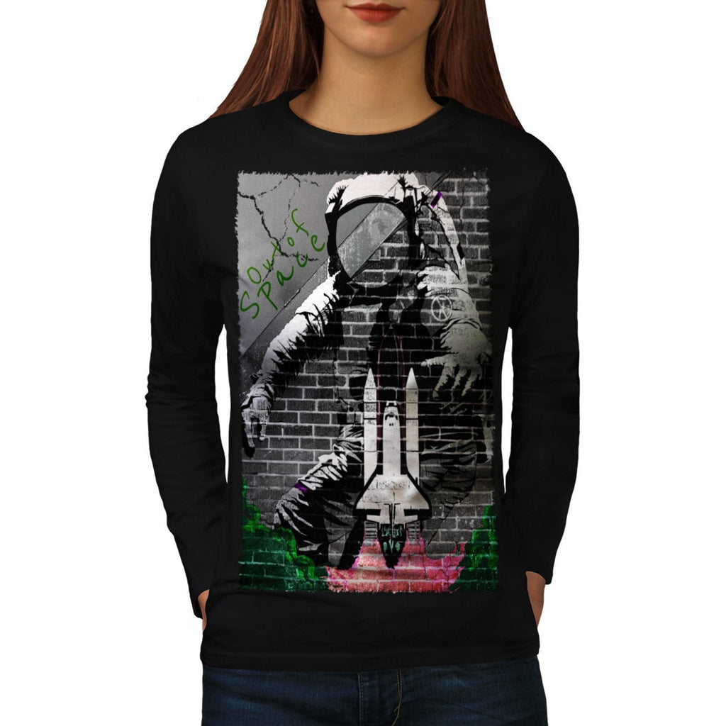 Astronaut Graffiti Womens Long Sleeve T-Shirt