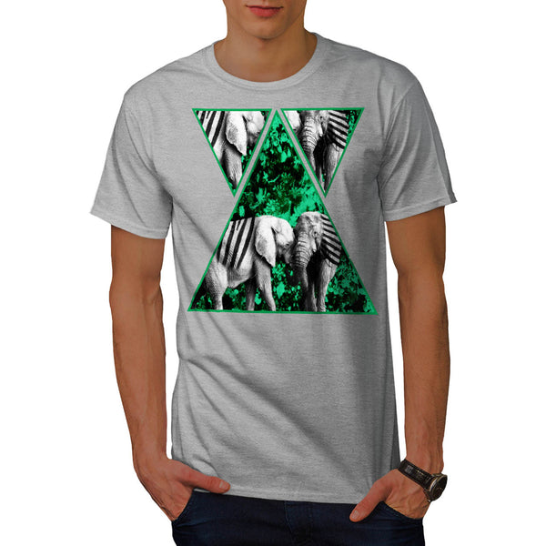 Zebra Elephant Shape Mens T-Shirt