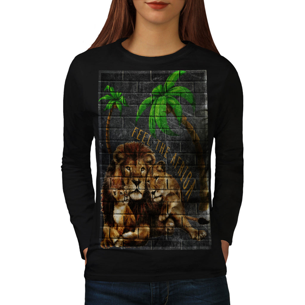 Feel Africa Graffiti Womens Long Sleeve T-Shirt