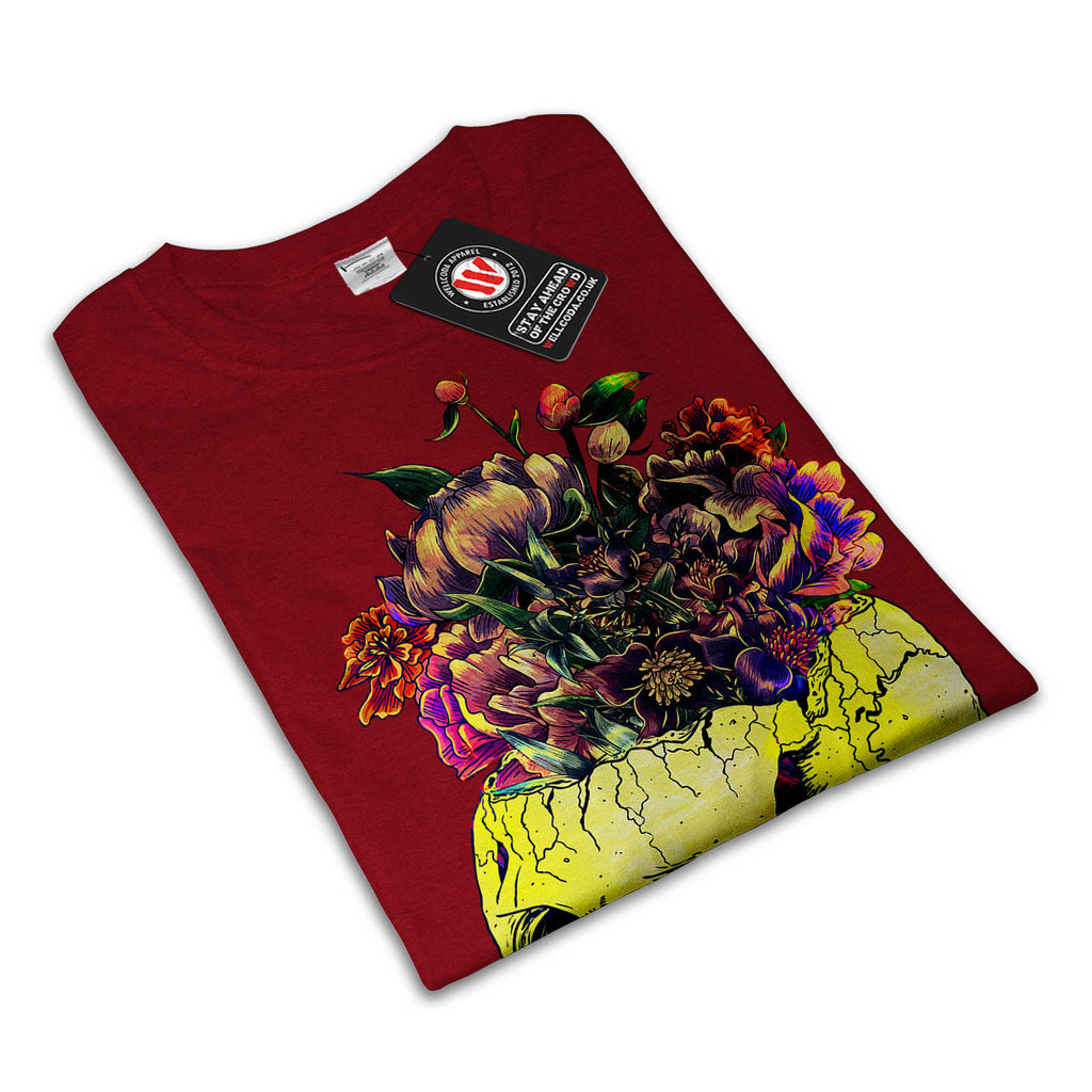Skull Rose Flowers Mens T-Shirt