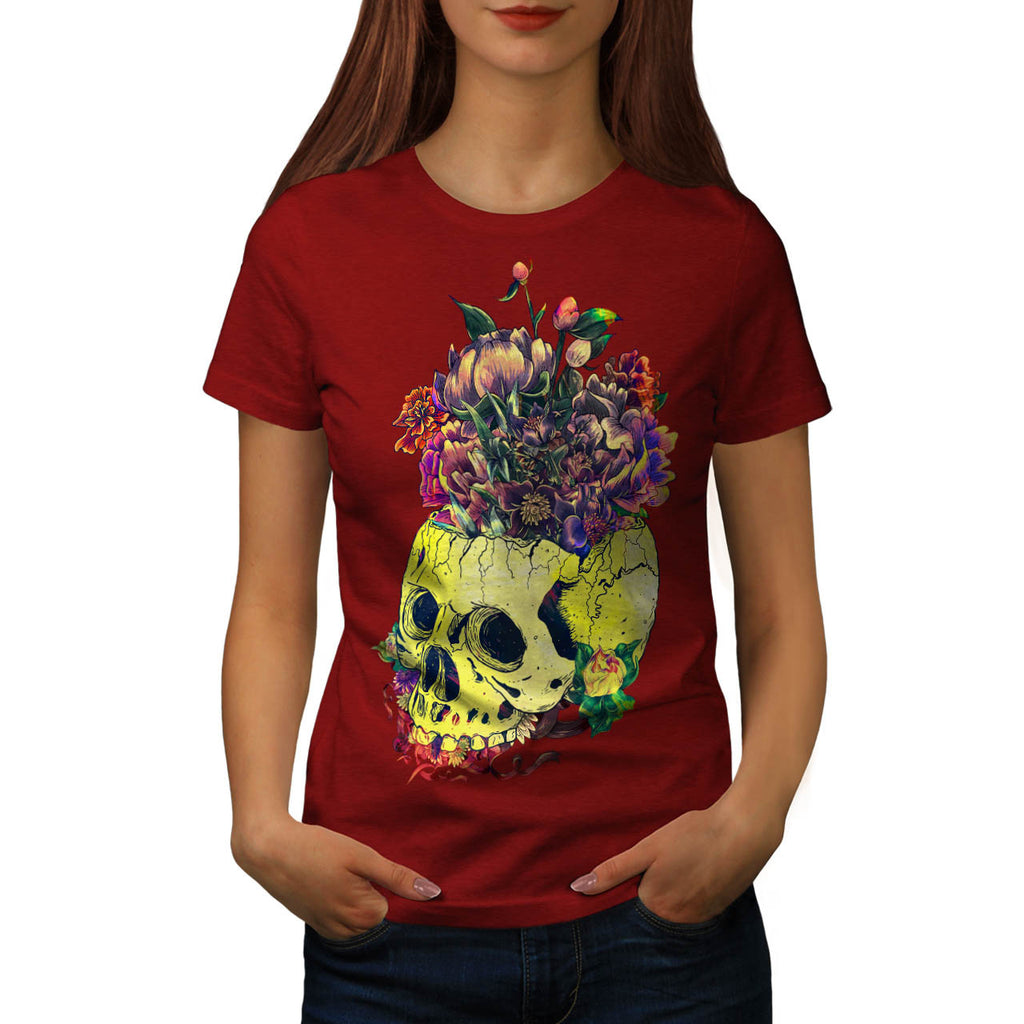 Skull Rose Flowers Womens T-Shirt