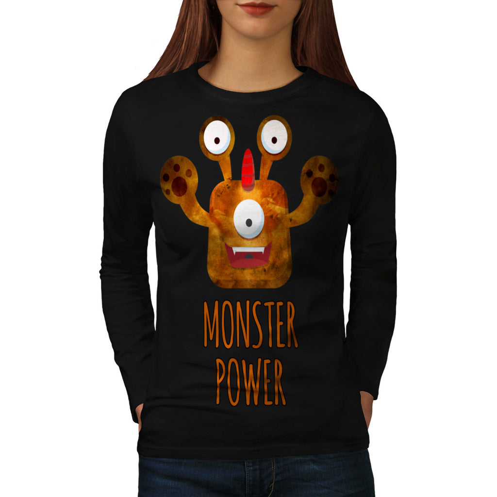 Cute Monster Power Womens Long Sleeve T-Shirt
