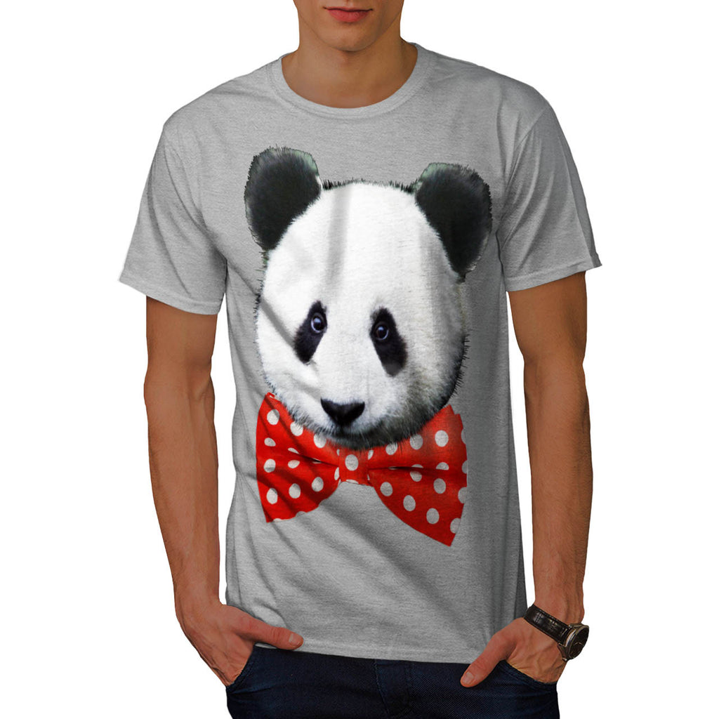 Panda Bow Bear Happy Mens T-Shirt