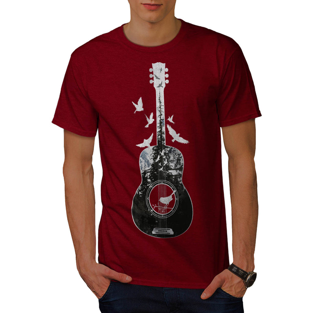Guitar Forest Bird Mens T-Shirt