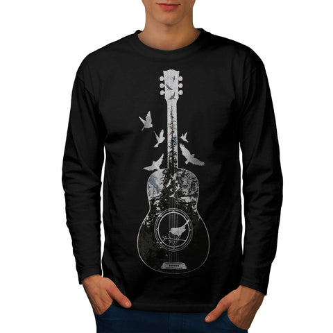 Guitar Forest Bird Mens Long Sleeve T-Shirt