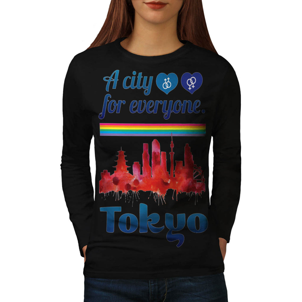 Friendly Tokyo City Womens Long Sleeve T-Shirt