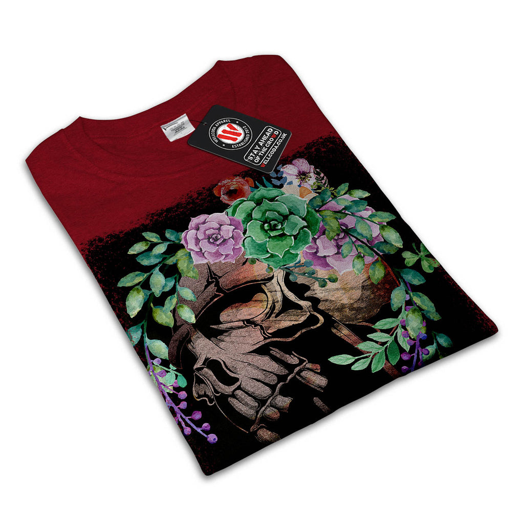 Skull Flower Rose Womens T-Shirt