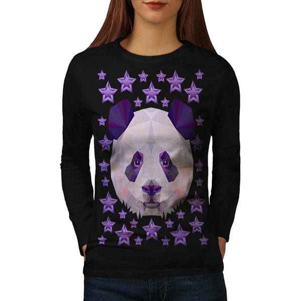 Polygonal Panda Bear Womens Long Sleeve T-Shirt