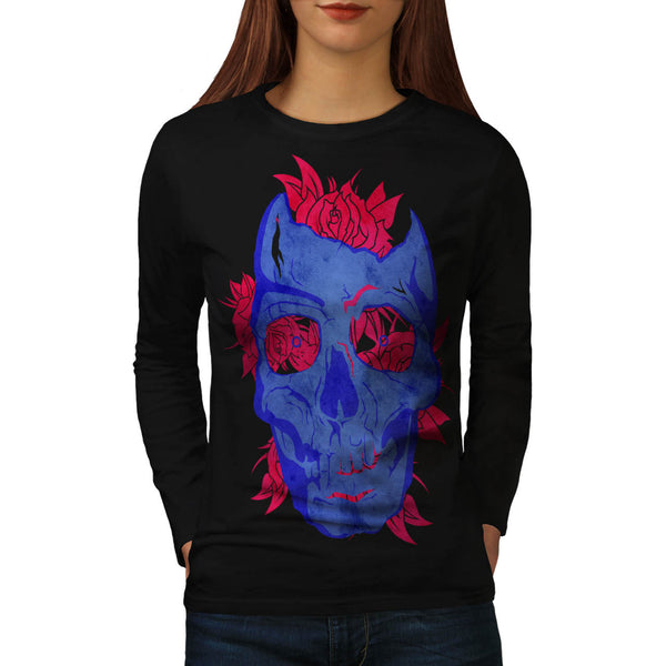 Skull Flower Rose Womens Long Sleeve T-Shirt