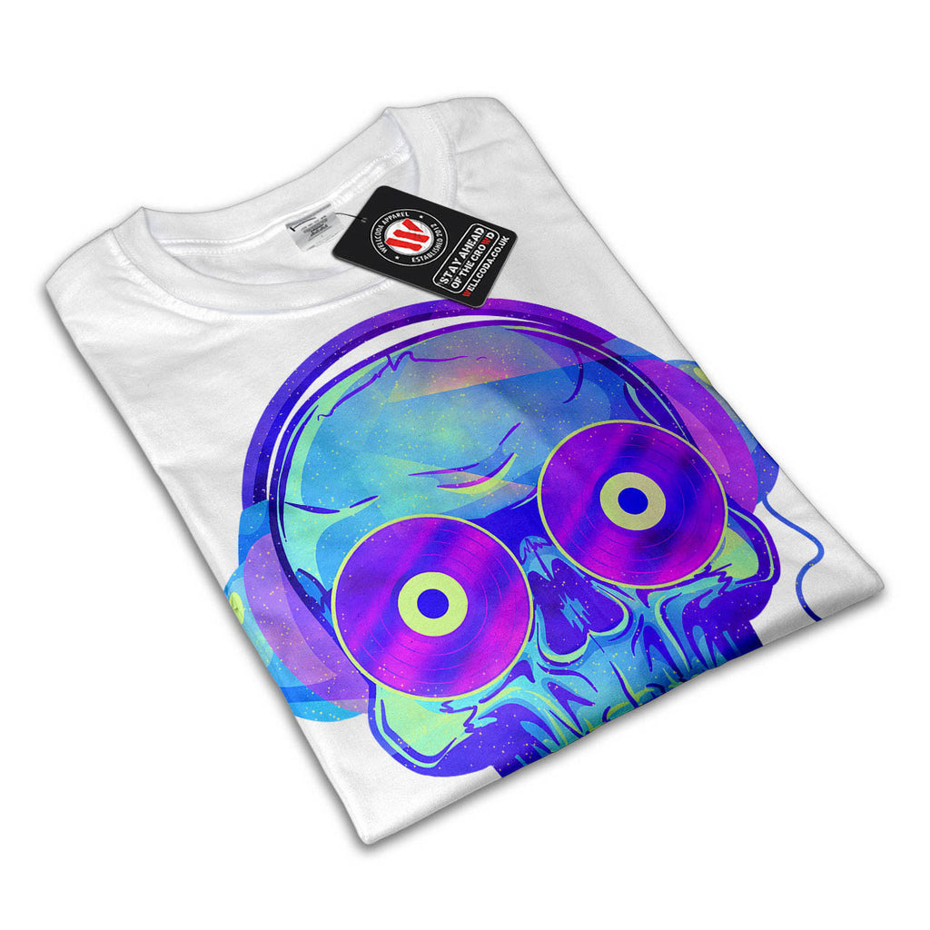 Music Record Skull Mens T-Shirt