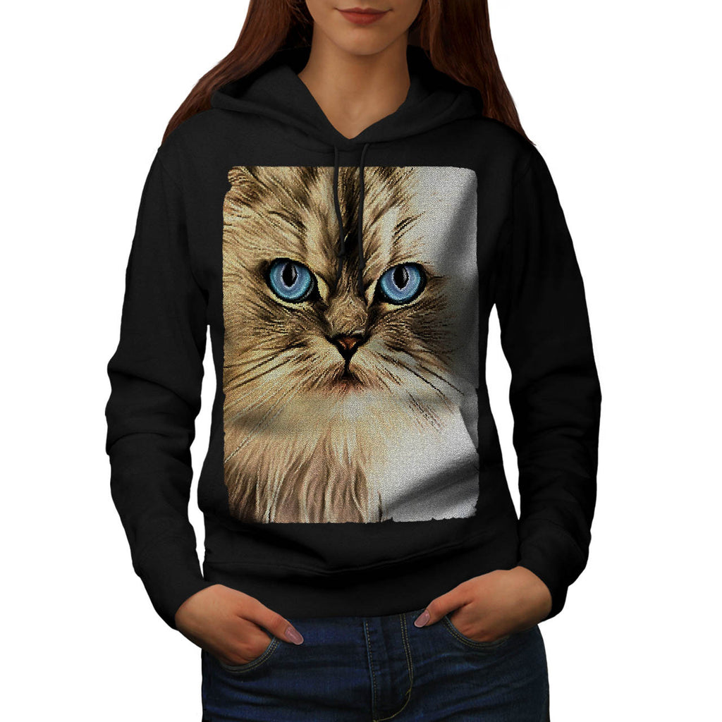 Serious Kitty Cat Womens Hoodie