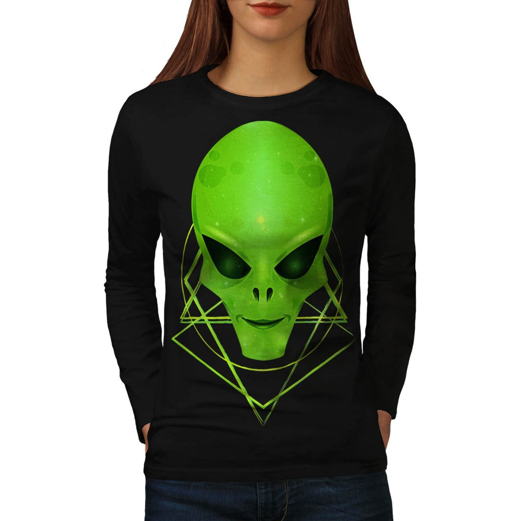 Alien Monster Smile Womens Long Sleeve T-Shirt
