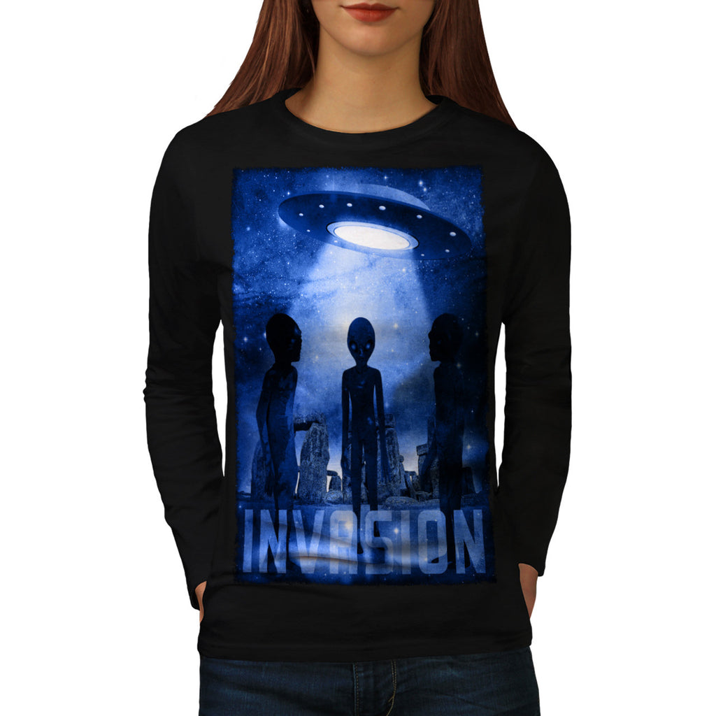 Space Beast Invasion Womens Long Sleeve T-Shirt