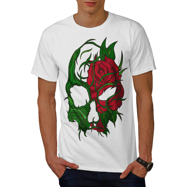 Skull Flowers Rose Mens T-Shirt