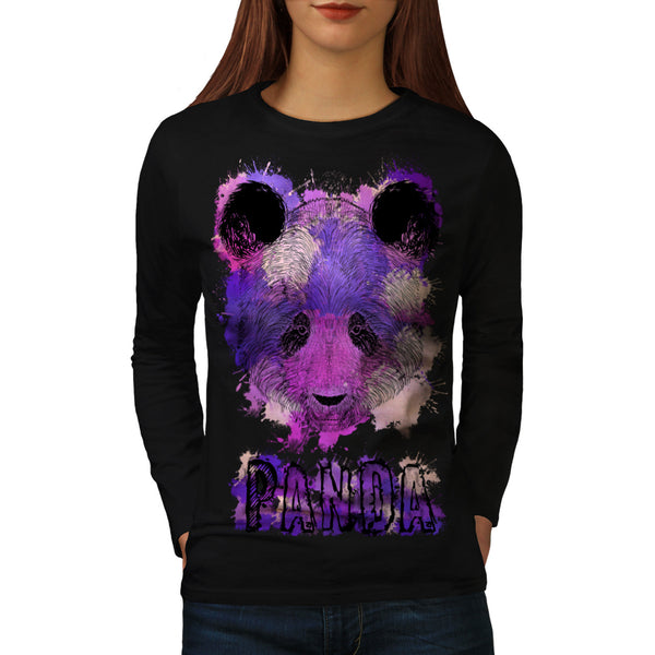 Purple Panda Splash Womens Long Sleeve T-Shirt