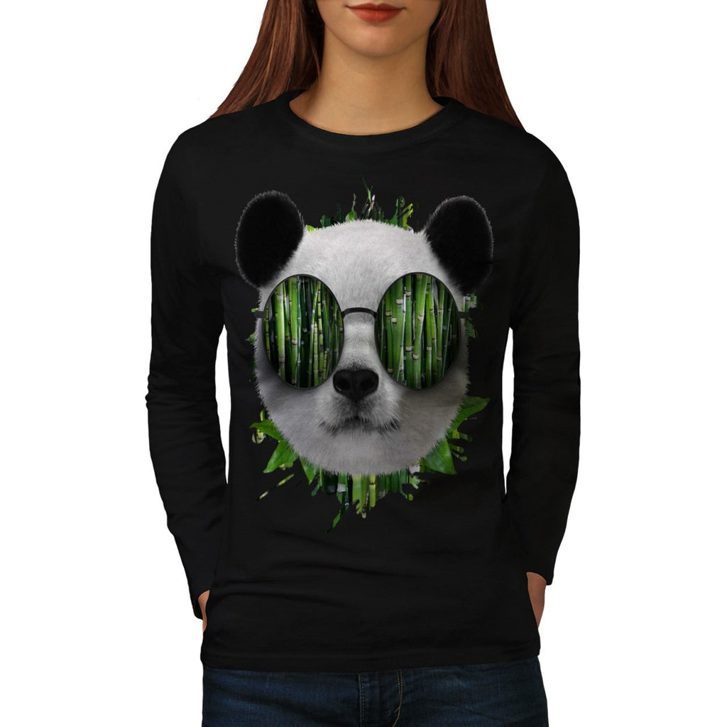 Bamboo Panda Bear Womens Long Sleeve T-Shirt
