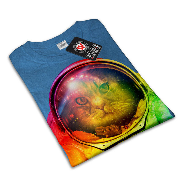 Astronaut Cat Color Mens T-Shirt