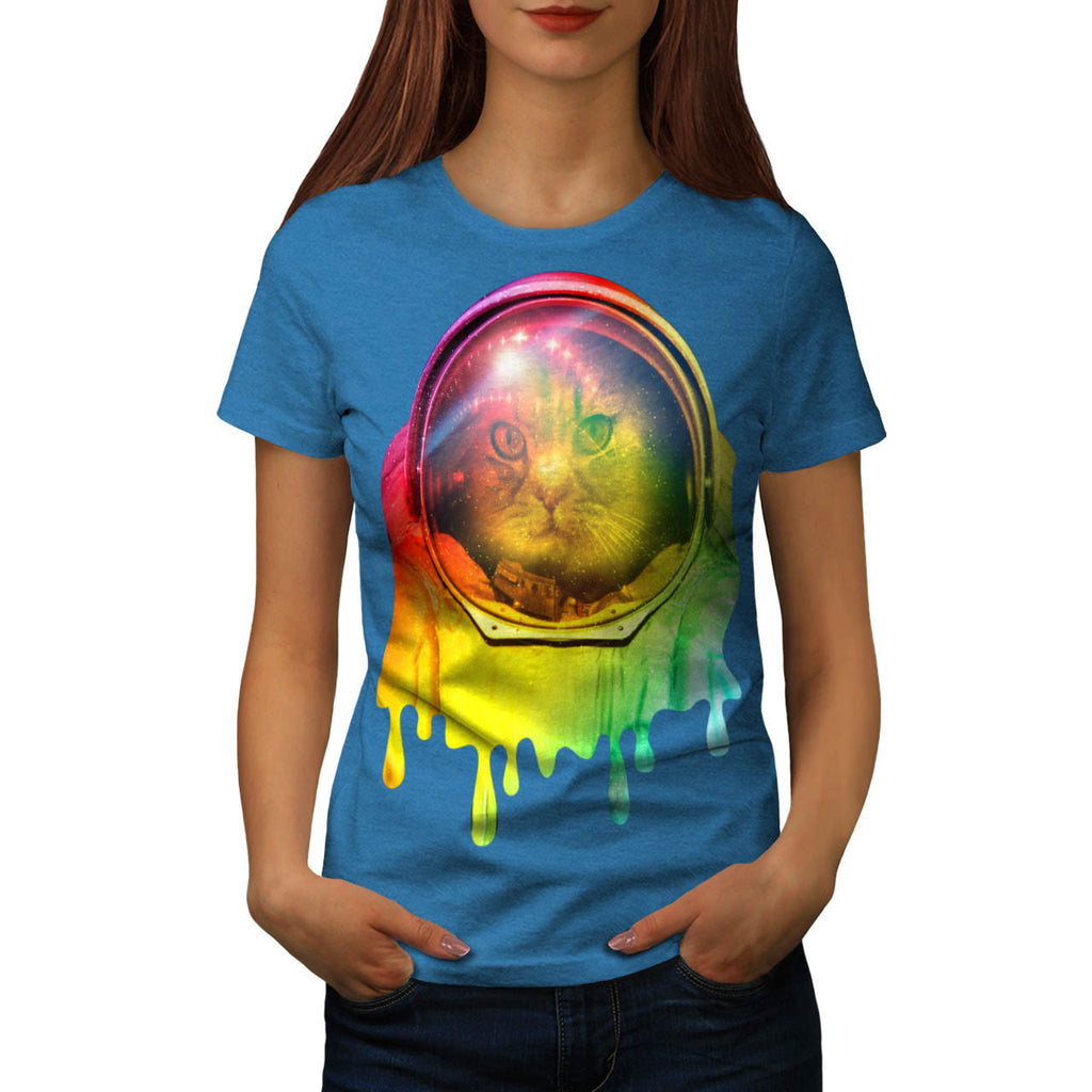 Astronaut Cat Color Womens T-Shirt