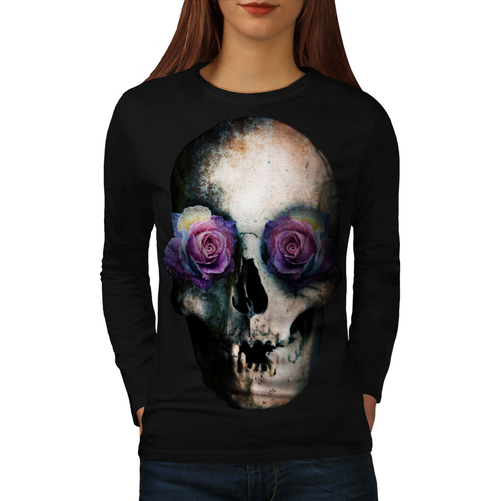 Skull Head Eyes Rose Womens Long Sleeve T-Shirt