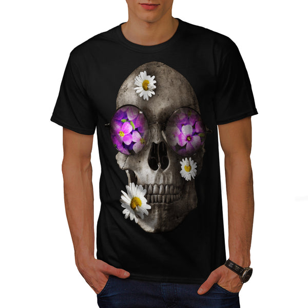 Skull Flowers Head Mens T-Shirt