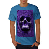 Skull Rose Glow Art Mens T-Shirt