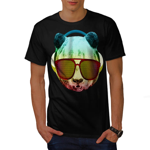 Music Fan Panda Bear Mens T-Shirt