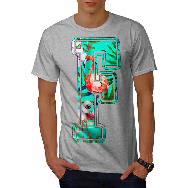 Flamingo Bird Letter Mens T-Shirt
