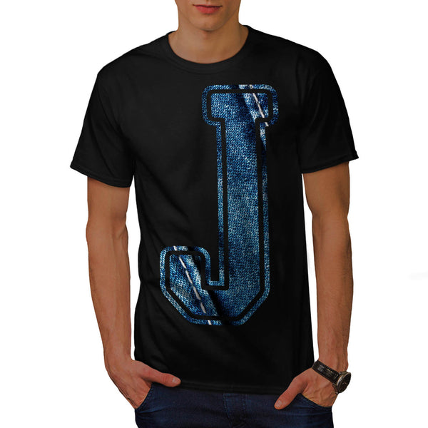 Jeans Fabric Letter Mens T-Shirt