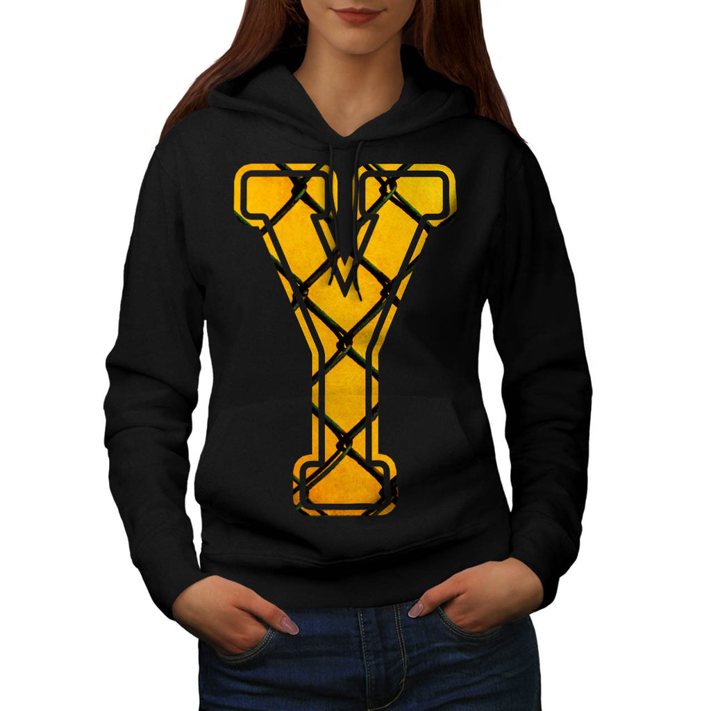 Yellow Fence Letter Womens Hoodie