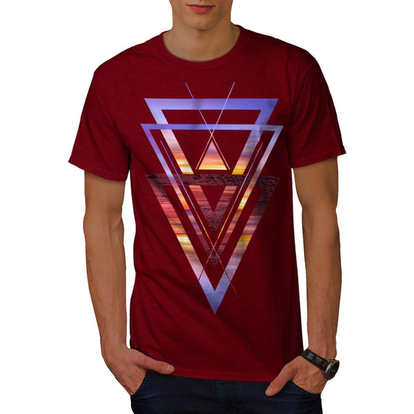 Sunset View Triangle Mens T-Shirt