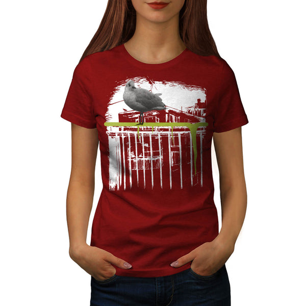 City Bird Tree Branch Womens T-Shirt