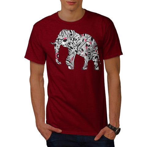 Flower Power Elephant Mens T-Shirt