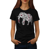 Flower Power Elephant Womens T-Shirt