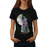 Full Moon Head Skull Womens T-Shirt
