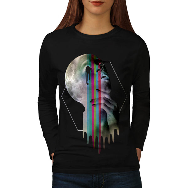 Full Moon Head Skull Womens Long Sleeve T-Shirt