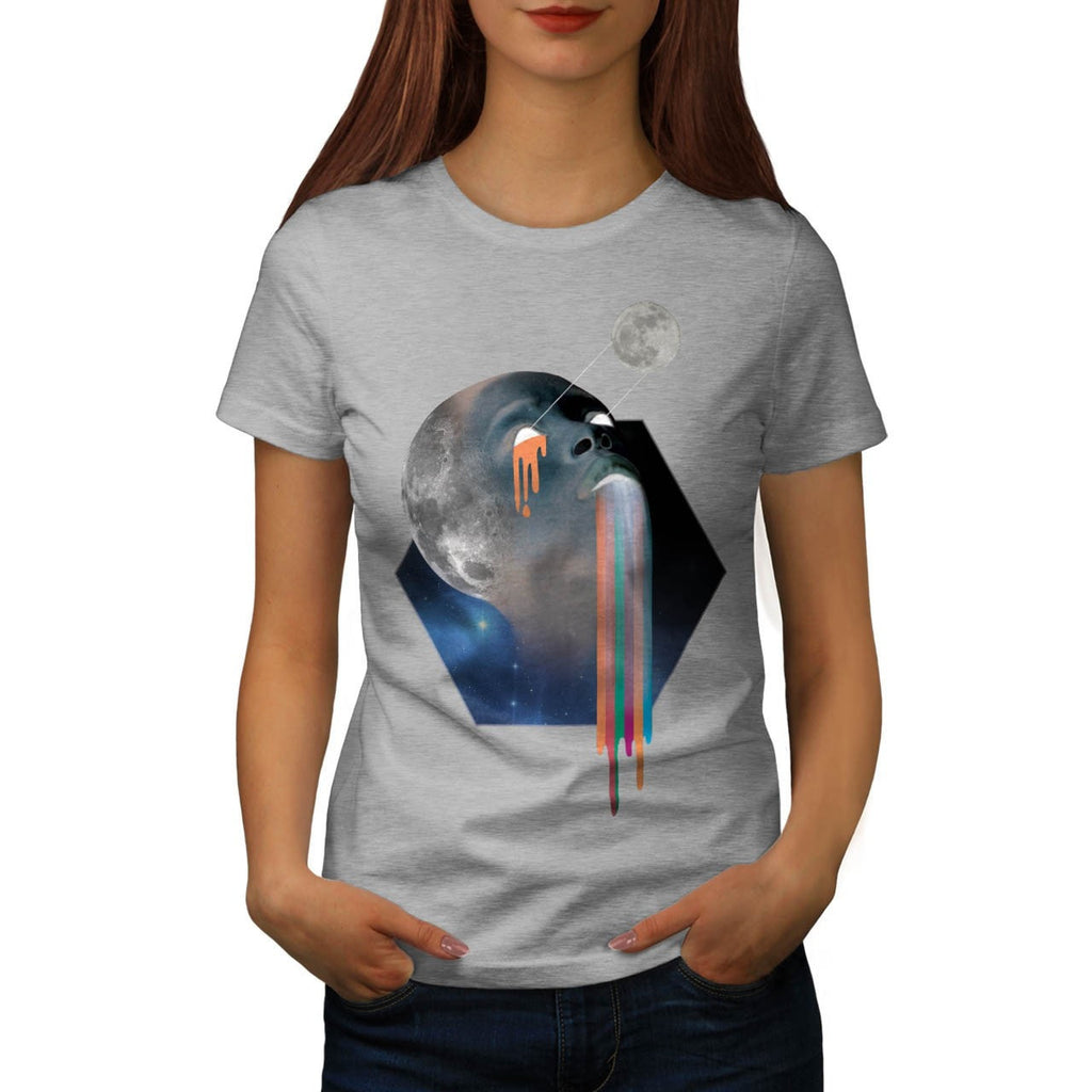Bald Head Moon Skull Womens T-Shirt