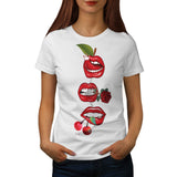 Red Lip Cherry Kiss Womens T-Shirt