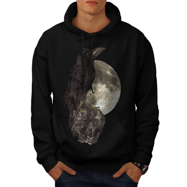 Black Crow On Skull Mens Hoodie
