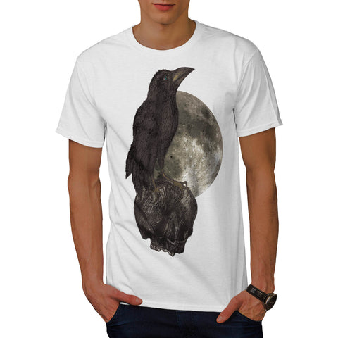 Black Crow On Skull Mens T-Shirt