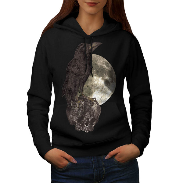 Black Crow On Skull Womens Hoodie
