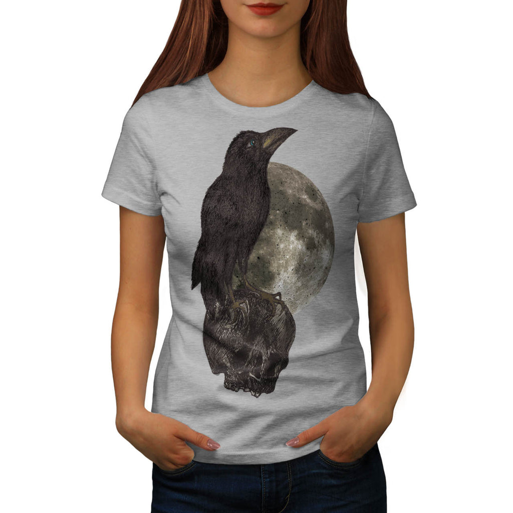 Black Crow On Skull Womens T-Shirt