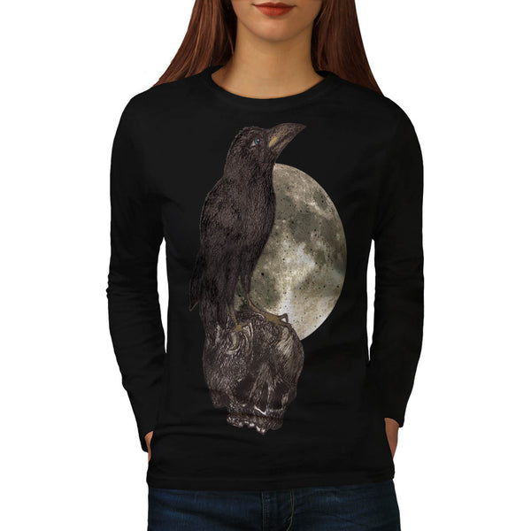 Black Crow On Skull Womens Long Sleeve T-Shirt