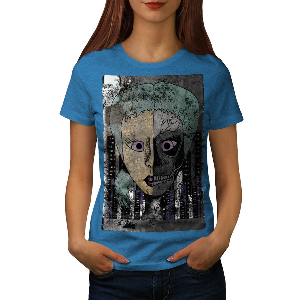 Girl Face Skeleton Womens T-Shirt