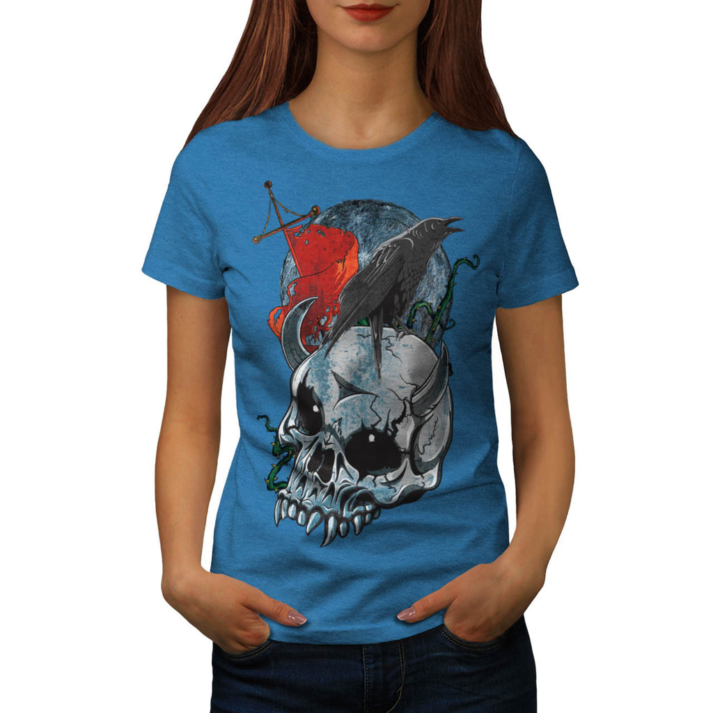 Skull Raven Head Art Womens T-Shirt